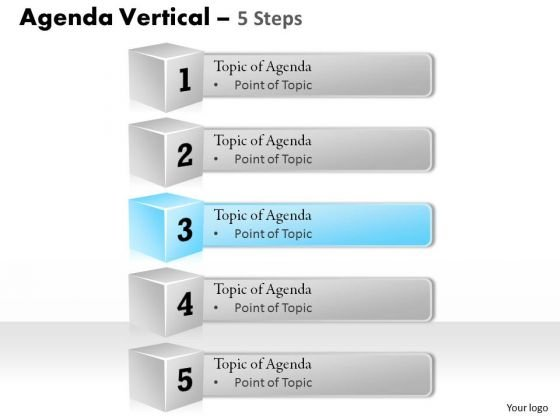 Strategic Management Agenda Vertical 5 Steps Sales Diagram