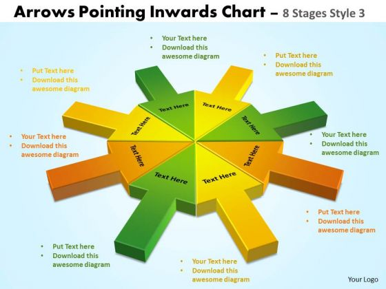 Strategic Management Arrows Pointing Inwards 8 Stages Style 3 Sales Diagram
