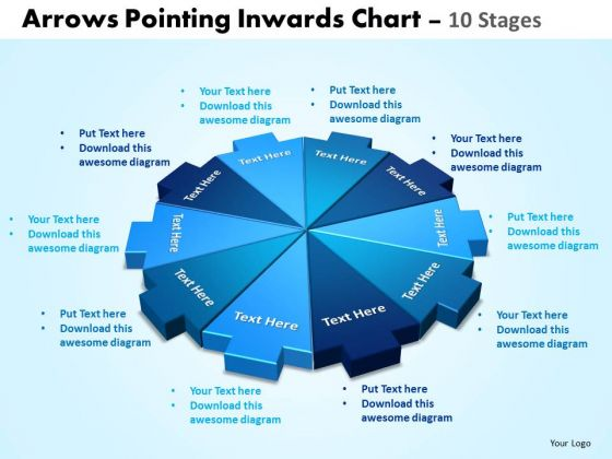 Strategic Management Arrows Pointing Inwards Chart 10 Stages Strategy Diagram