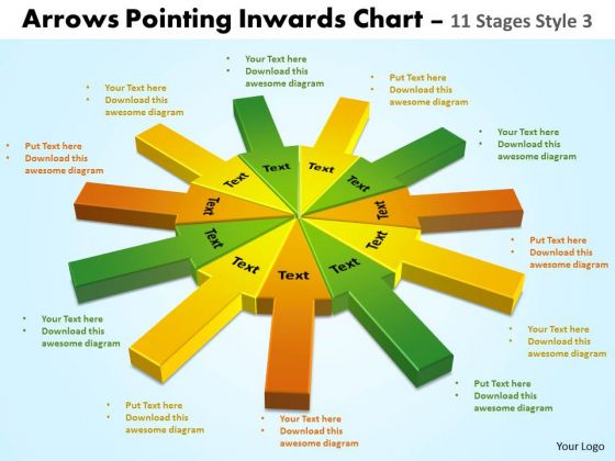 Strategic Management Arrows Pointing Inwards Chart 11 Stages Style 3 Marketing Diagram