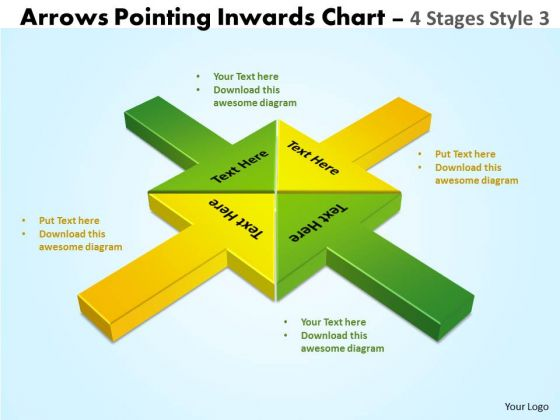 Strategic Management Arrows Pointing Inwards Chart 4 Stages Style 3 Marketing Diagram