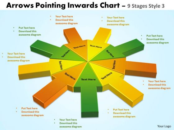 Strategic Management Arrows Pointing Inwards Chart 9 Stages Style 3 Sales Diagram