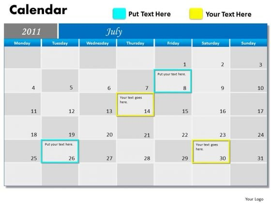 Strategic Management Blue Calendar 2011 Marketing Diagram