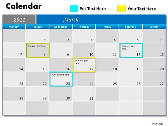 Strategic Management Blue Calendar 2011 Sales Diagram
