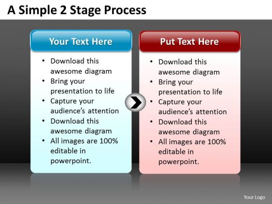 Strategic Management Business PowerPoint Templates Simple 2 Stage Sales Diagram