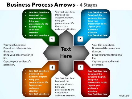 Strategic Management Business Process Arrows 4 Stages 10 Business Framework Model