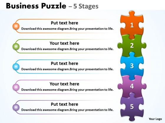 Strategic Management Business Puzzle 5 Stages Business Diagram