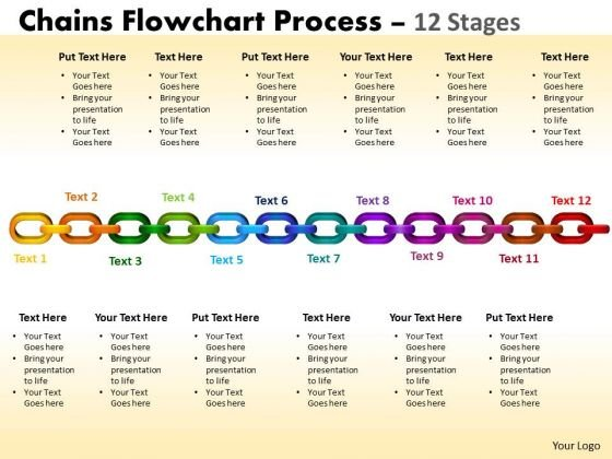Strategic Management Chains Flowchart Process Diagram 12 Stages Business Diagram