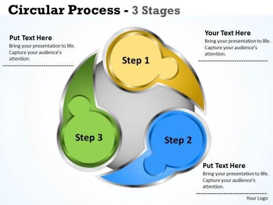 Strategic Management Circluar Process 3 Stages Business Diagram