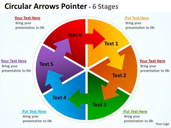 Strategic Management Circular Arrows Diagram Pointer 6 Stages Consulting Diagram