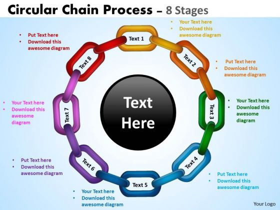 Strategic Management Circular Chain Process Diagram 8 Stages Sales Diagram
