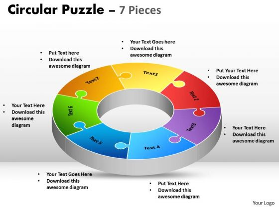 Strategic Management Circular Diagram Puzzle 7 Pieces Marketing Diagram