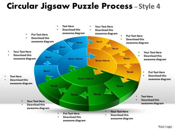 Strategic Management Circular Jigsaw Circular Diagram Puzzle Process Style 4 Marketing Diagram