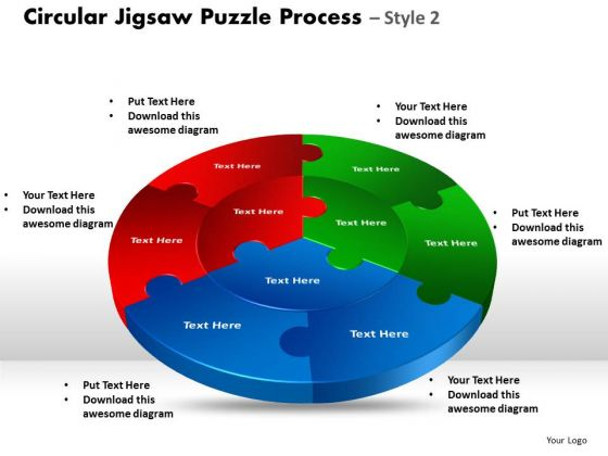 Strategic Management Circular Jigsaw Puzzle Process Style 8 Sales Diagram