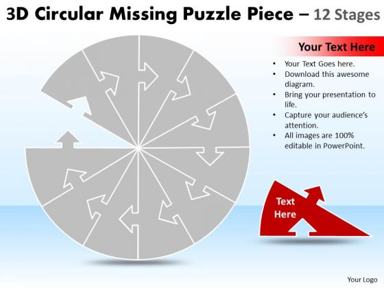 Strategic Management Circular Missing Puzzle Piece 12 Stages Sales Diagram