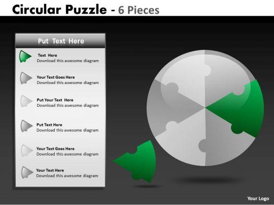 Strategic Management Circular Puzzle 6 Pieces Business Diagram