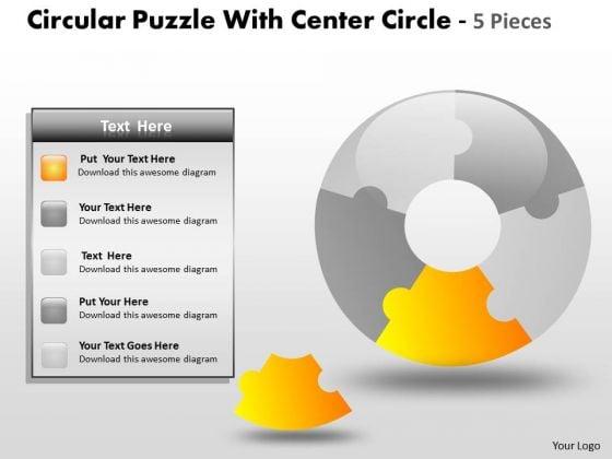 Strategic Management Circular Puzzle Diagram Circle 5 Pieces Sales Diagram