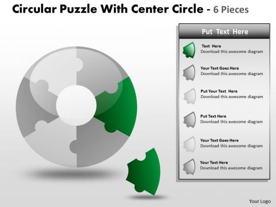 Strategic Management Circular Puzzle With Center Circle 6 Pieces Business Diagram