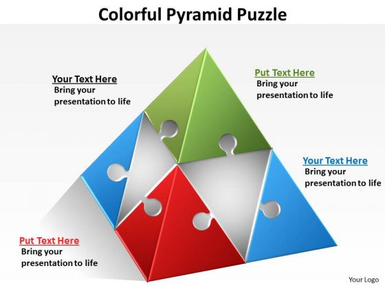 Strategic Management Colorful Pyramid Puzzle Sales Diagram