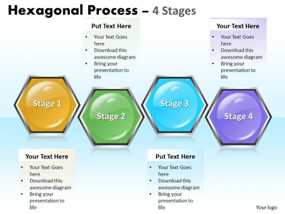 Strategic Management Hexagonal Process 4 Stages Business Diagram