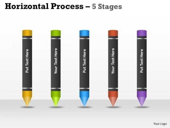 Strategic Management Horizontal Process 5 Stages Crayons Marketing Diagram