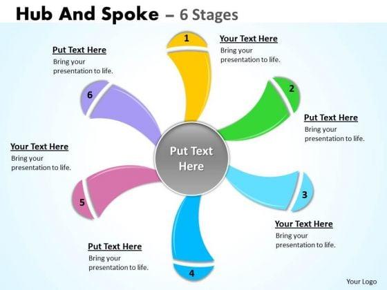 Strategic Management Hub And Spoke 6 Stages Sales Diagram
