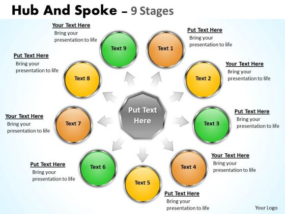 Strategic Management Hub And Spoke 9 Stages Business Diagram