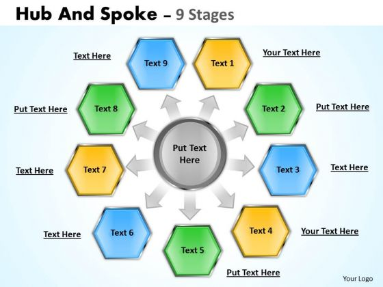 Strategic Management Hub And Spoke 9 Stages Strategy Diagram