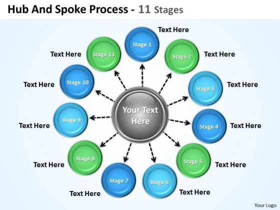 Strategic Management Hub And Spoke Process 11 Stages Sales Diagram