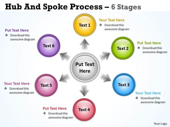 Strategic Management Hub And Spoke Process 6 Stages Business Diagram