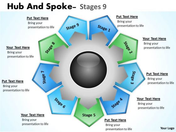 Strategic Management Hub And Spoke Stages Business Diagram