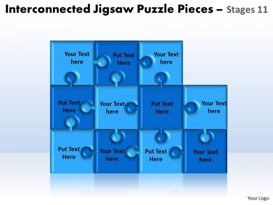 Strategic Management Interconnected Jigsaw Puzzle Pieces Stages 11 Business Diagram