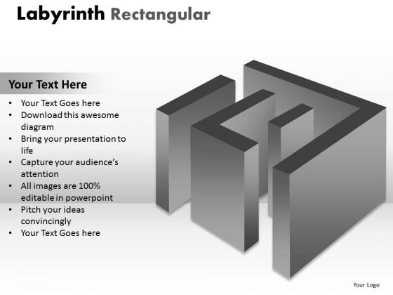 Strategic Management Labyrinth Rectangular Design Marketing Diagram
