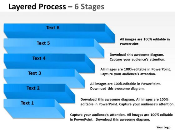 Strategic Management Layered Process Diagram With 6 Stages Sales Diagram