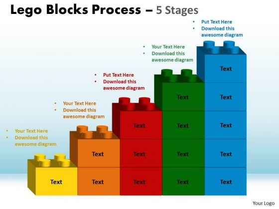 Strategic Management Lego Blocks Process 5 Stages Business Diagram