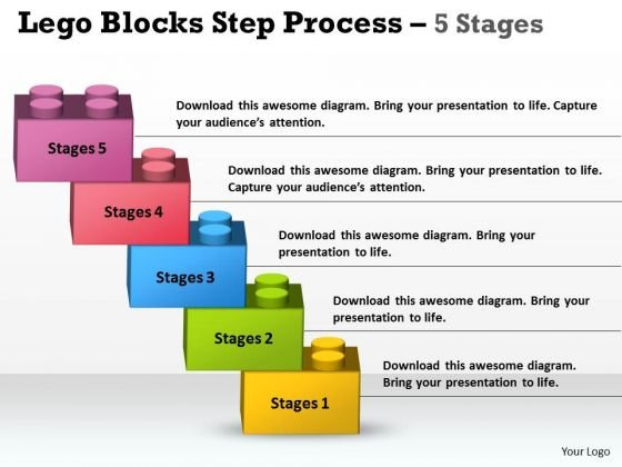 Strategic Management Lego Blocks Step Process 5 Stages Sales Diagram
