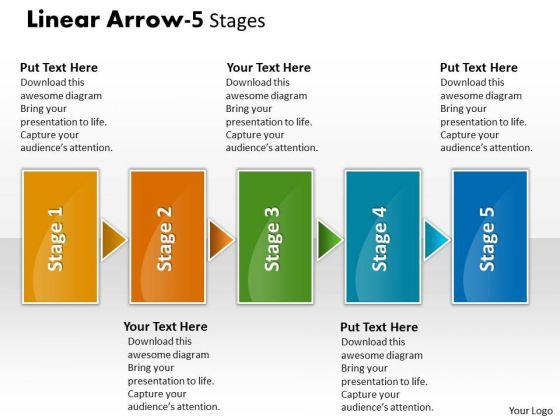Strategic Management Linear Arrow 5 Stages Business Framework Model