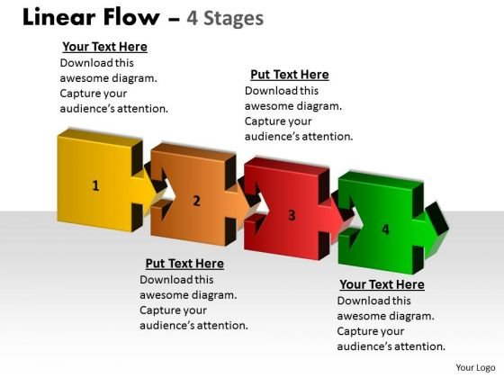 Strategic Management Linear Flow 4 Stages Marketing Diagram