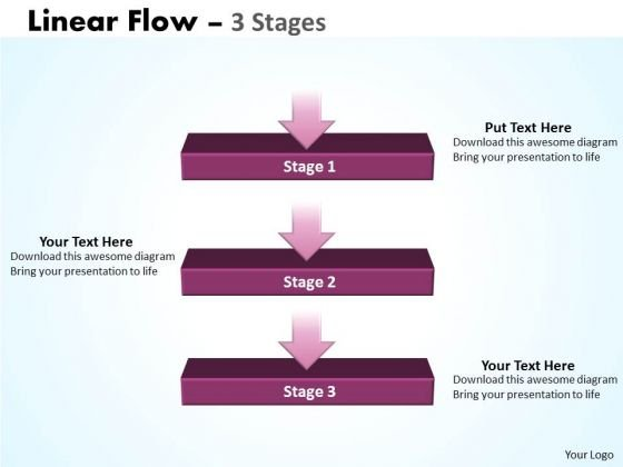 Strategic Management Linear Flow Diagram 3 Stages Sales Diagram