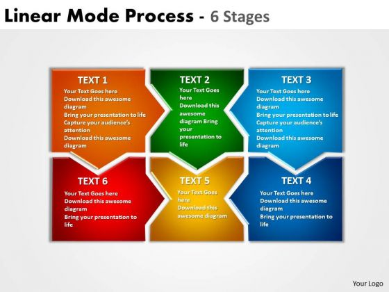 Strategic Management Linear Mode Process 6 Stages Business Diagram