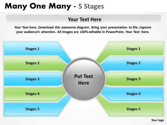 Strategic Management Many One Many 5 Step Sales Diagram