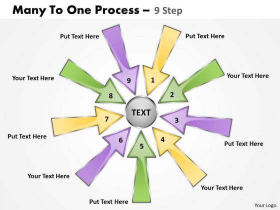 Strategic Management Many To One Process 9 Step Sales Diagram