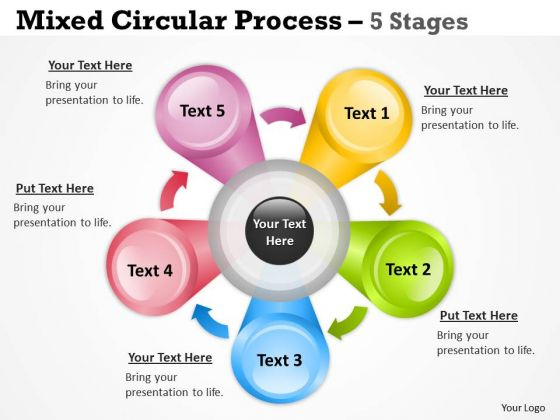 Strategic Management Mixed Circular Process Diagram With 5 Stages Consulting Diagram