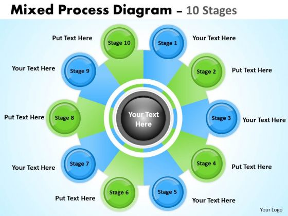Strategic Management Mixed Process Diagram 10 Stages Business Cycle Diagram
