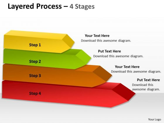 Strategic Management Mullticolored Layered Process 4 Stages Sales Diagram