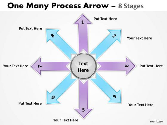 Strategic Management One Many Process Arrow 8 Stages Sales Diagram