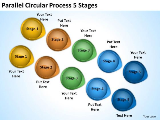 Strategic Management Parallel Circular Process 5 Stages Marketing Diagram