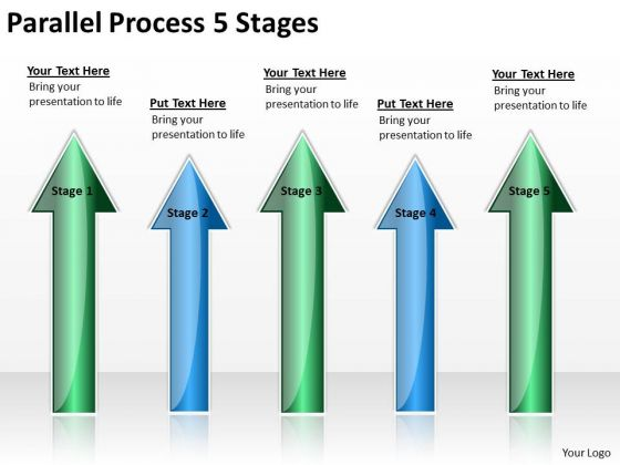 Strategic Management Parallel Process 5 Stages Business Cycle Diagram