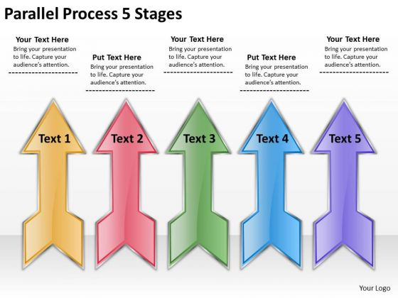 Strategic Management Parallel Process 5 Stages Business Diagram