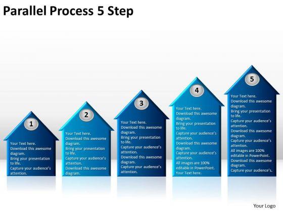 Strategic Management Parallel Process 5 Step Business Diagram